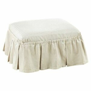 Sure Fit Ticking Stripe 2-Piece - ottoman BLUE new