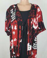 Fashion Bug Women's Size 18/20 Black Red Blouse Floral Short Sleeve Faux 2 Piece