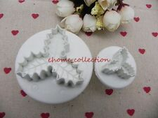 2PCS Baking Cookie Plunger Xmas Holly Leaf Cutter Decorating Sugaecraft Mould