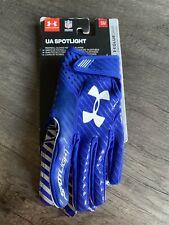Under Armour Spotlight Skill Player Football Gloves Blue Men's Small