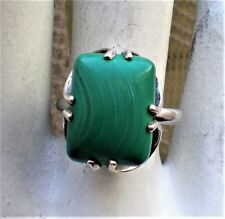 Large Russian Russia Sterling Silver 925 Malachite Solitaire Cocktail Ring 6.9 g
