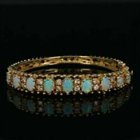 "5.00Ct Oval Fire Opal & Diamond 7.25"" Tennis Bracelet 14k Yellow Gold Over"