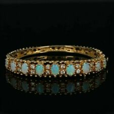 "5.00Ct Oval Fire Opal & Diamond 7.25"" Tennis Bracelet 14k Yellow Gold Over"