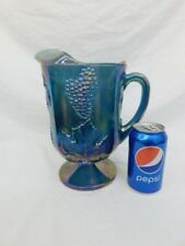 """BLUE CARNIVAL GLASS PEDESTAL PITCHER IRIDESCENT LEAVES GRAPES 10"""" TALL"""