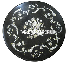 12'' Black Marble Coffee Table Mother of Pearl Inlay Marquetry Living Room Decor
