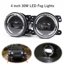 "4"" 30w LED Round Fog Lights Car Modified Universal Len Projector Angel Eyes Halo"
