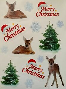 14 Pc Baby Reindeer Xmas Tree Window Cling Stickers Vintage Christmas Decoration
