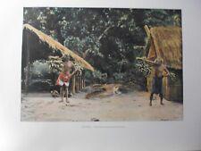 iles sous le vent/Gravure 19°in folio couleur/ Raiatéens revenant de provisions