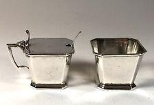 Antique Large Solid Silver Sterling Mustard Pot and Spoon Salt Cellar set 2