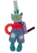 Doudou anneau de dentition chat bleu vert rose Les jolis pas beaux Moulin Roty