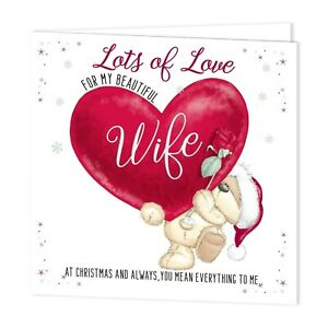 PERSONALISED CHRISTMAS XMAS CARD-WIFE/HUSBAND/LGBT FIZZY MOON BEAR LOTS OF LOVE