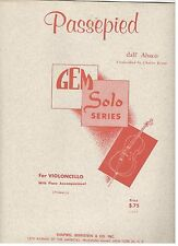 """""""PASSEPIED"""" FOR VIOLONCELLO W/PIANO ACCOMPANIMENT SHEET MUSIC-1958-NEW ON SALE!!"""