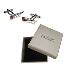 Mens Silver Cricket Bat With Red Ball Cufflinks & Gift Box - By Onyx Art