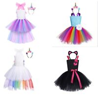 Kids Girls Children Unicorn Fancy Dress Rainbow Tutu Skirt Cosplay Costume Party
