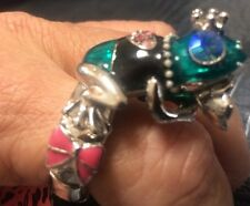 Great Gift! Betsey Johnson Silver Crowned Frog Prince Adjustable  Ring RARE