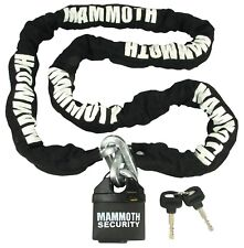 MAMMOTH HEAVY DUTY PADLOCK AND CHAIN MOTORCYCLE SCOOTER QUAD 1.8m x 10mm THICK