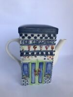 Teapot Ice Cream Creamery Shop Shaped Store House Porcelain White Blue 6""