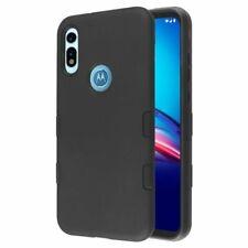 For Motorola Moto E (2020) Black Tuff Subs Hybrid Hard TPU Rubber Case Cover