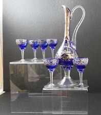 "Vintage Cobalt Blue Glass Hand Blown Paint Carafe Pitcher 15 1/4"" 6 Goblets U2"