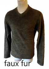 Faux mohair angora Fur Medium fitted sweater brown gay bear vtg 80s stretch punk