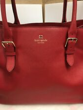 KATE SPADE LEATHER BRIGHT RED ZIPPED COMPARTMENT ADJUSTABLE STRAPS  XL