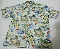 Campia XL Blue Red Green Hawaiian Shirt Cotton Short Sleeve Aloha Wine Mens tree