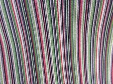 MULTI-COLORED PIN STRIPE BLACK RED GREEN COTTON DRAPERY UPHOLSTERY FABRIC