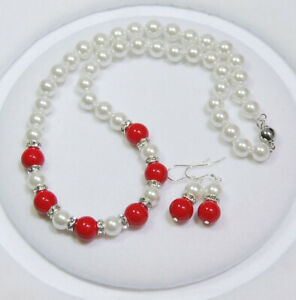 8mm White Shell Pearl 10mm Red Coral Pearl Round Beads Necklace Errings Set 18''