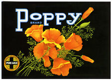 POPPY~GOLDEN POPPIES/FLOWERS~HISTORICAL FRUIT CRATE LABEL ART~NEW 1983 POSTCARD