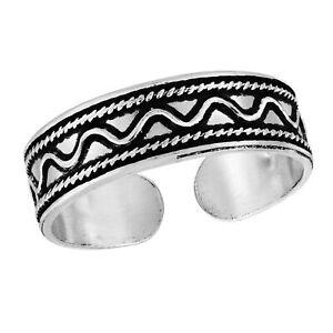 Modern Swirl Balinese Sea Wave Sterling Silver Toe or Pinky Ring