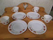 Vintage Snack Set of Arcopal Milk Glass Made in France Snack Plates & Cups *EVC*