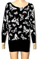 WOMEN LADIES BLACK BUTTERFLY PRINT LONG SLEEVE DRESS TOP SIZE 8-10, 12-14
