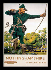 Nottinghamshire Robin des Bois - Encadré 30 X 40 Officiel Imprimé