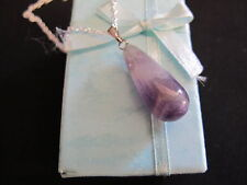Amethyst Pendant Natural Stone #1 DROP 25mm x 10mm (No Chain) Beautiful Gift NEW