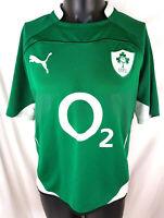 Ireland 2009-11 Home IRFU Rugby Jersey Puma Green Jersey Large O2 Good B39