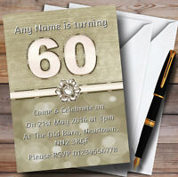 Titanium Gold And White 60Th Personalised Birthday Party Invitations
