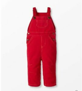 NWT Hanna Andersson Red Corduroy Overalls Sz 3