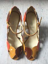 Miu Miu Peep Toe Geometric Pattern Patent Shoes Size 36 1/2