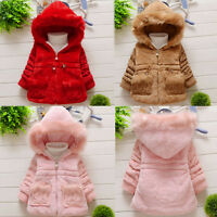 Baby Girl Kids Fur Coat Outerwear Winter Warm Thick Jacket Tops Cotton Snowsuit