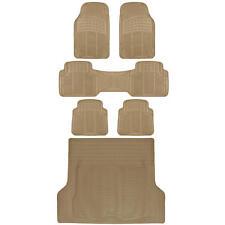 Full 3 Row Car Rubber Floor Mats Beige All Weather w/ Cargo Trunk Mat Max Duty