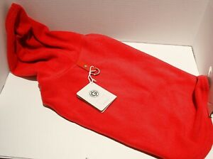 Gooby Fleece Vest Hoodie SMALL BREED Pull Over Jacket w/Leash Ring - Red XL