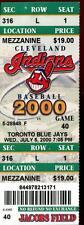 Baseball Ticket Cleveland Indians 2000 7/5 Toronto Blue Jays