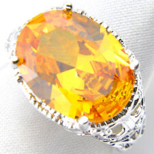 Valentine's Day Amazing Love Oval Fire Royal Citrine Gem 925 Silver Rings