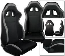 2 BLACK & GRAY CLOTH RACING SEATS RECLINABLE + SLIDERS FOR HONDA