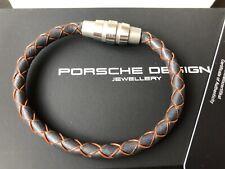 Porsche Design Bracelet Grooves stainless steel,cow leatherSourisOrange 19cm*NEW