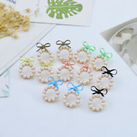 Cute Pearl Bow Knot Round Stud Earrings Women Fashion Jewelry Korean Style Gift