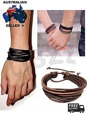 Mens Leather Bracelet Wristband Layered Rope Braided Tie up Vintage Wrap Brown