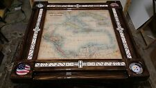 Caribbean Map Domino Table, YOUR choice of any cupholder by Domino Tables by Art