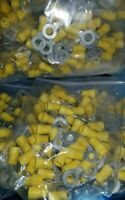 "100 pcs Burndy YAES10N14 Nylon Insulated Ring Lug, 12-10 AWG, 3/8"" Stud, New"