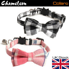 Cat Bow Tie Collar, Chequered, Safety Release, Removable Bow and Bell